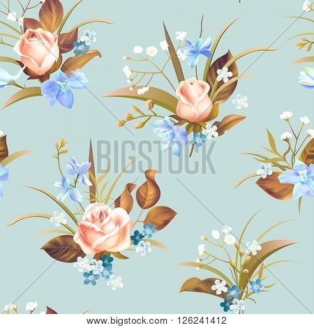 Seamless pattern with roses and spring flowers. Vector illustration.