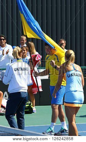KYIV UKRAINE - APRIL 17 2016: Ukraine National Tennis Team react after BNP Paribas FedCup match against Argentina at Campa Bucha Tennis Club in Kyiv Ukraine