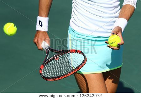 KYIV UKRAINE - APRIL 17 2016: Close-up details of Ukrainian Lesia Tsurenko's equipment during BNP Paribas FedCup World Group II Play-off game against Maria Irigoyen of Argentina at Campa Tennis Club