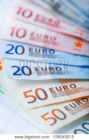Set of different euro banknotes, close up
