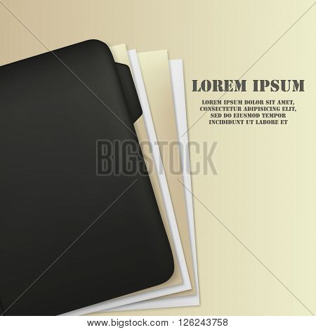 Green folder with paper. Folder with documents. File. Document folder. Vector file.