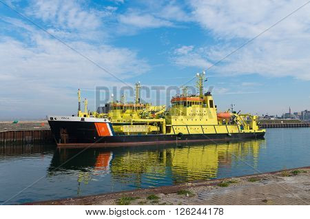 SCHEVENINGEN NETHERLANDS - OCTOBER 3 2015: Dutch coast guard ship ARCA in the scheveningen harbor