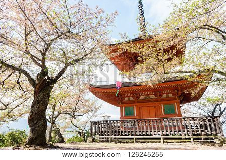 Small pagoda located on the top part of the Itsukushima Shrine, located close to Miyajima island, Japan.