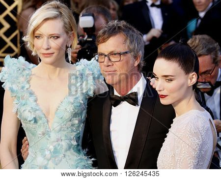 Todd Haynes, Cate Blanchett and Rooney Mara at the 88th Annual Academy Awards held at the Dolby Theatre in Hollywood, USA on February 28, 2016.