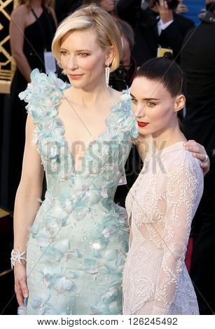 Cate Blanchett and Rooney Mara at the 88th Annual Academy Awards held at the Dolby Theatre in Hollywood, USA on February 28, 2016.