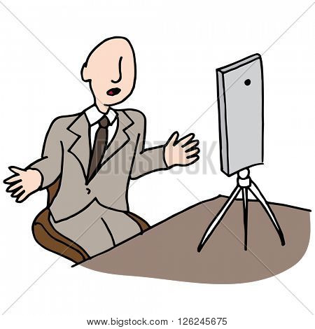 An image of a businessman making a live video.