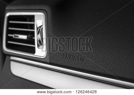 Car detailing series : Airbag logo on clean car interior