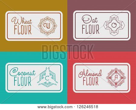 label for flour packaging. Linear vector illustration for flour packaging. Packaging  for wheat flour, coconut flour, oat flour, almond flour