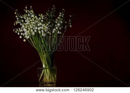 Lilly of the valley in a glass vase on black  background