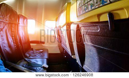 Interior passenger airliner cabin. empty aircraft cabin.