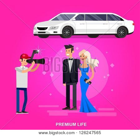 Vector detailed character rich and beautiful celebrities, man in tails and blond woman in evening dress, celebrities walking on a red carpet, celebrities with limousine