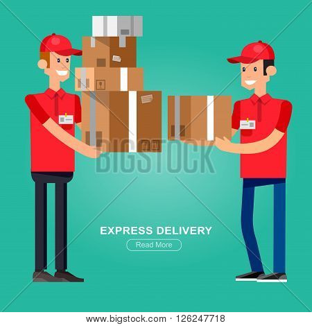 Funny Delivery character man. Vector Delivery. Delivery detailed illustration. Delivery fast to the door and by delivery courier flat set. Delivery vector illustration