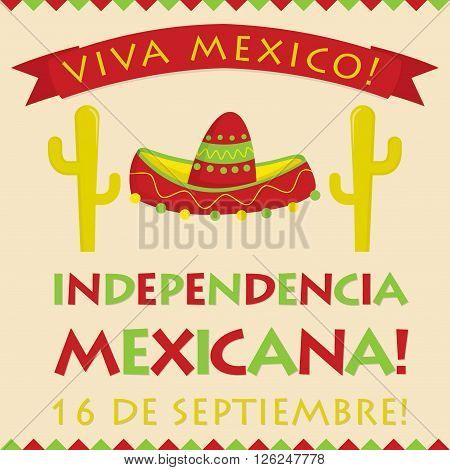 Retro Style Independencia Mexicana (mexican Independence Day) Card In Vector Format.