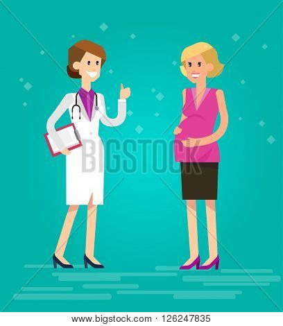 Vector detailed character happy pregnant woman having a doctor visit in hospital. Gynecologist woman indicates that everything is OK. Cool flat  illustration