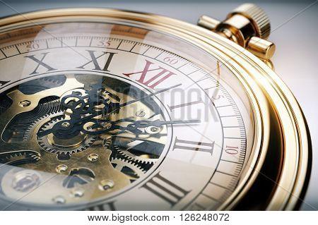 Vintage gold pocket watch. 3d rendering