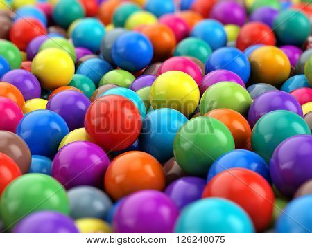 Colorful Balls spheres background - 3d rendering