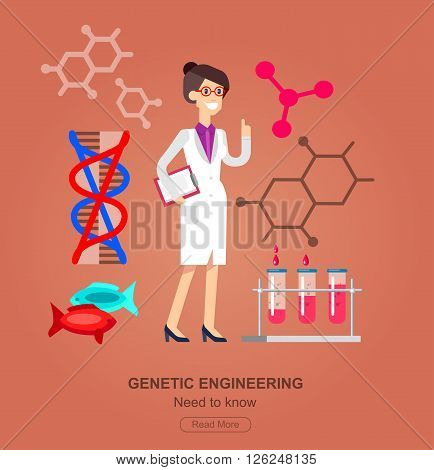 detailed character woman scientis. Biotechnology icons concept, composition of genetic engineering