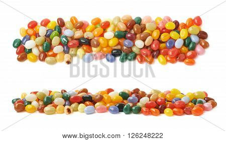 Decorational line made of colorful jelly bean candies isolated over the white background, set of two different foreshortenings