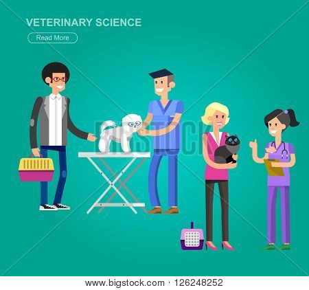 high quality veterinary icon, character design veterinarian with dog and cat, veterinarian inspects animal, veterinary object, veterinarian check up visiting walker training.