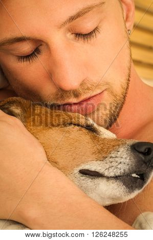 Dog And Owner Cuddle