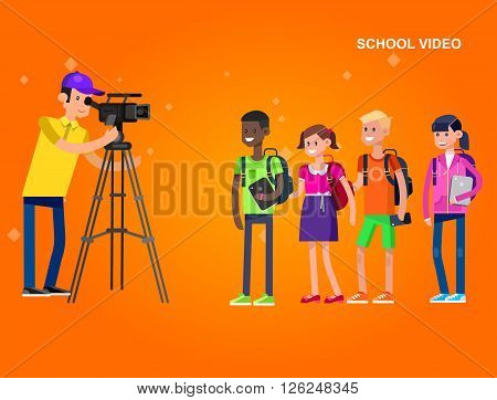 cool detailed character videographer with camera photographs school children, a boy and a girl