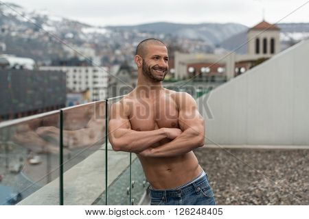 Healthy Young Man Posing Outdoors