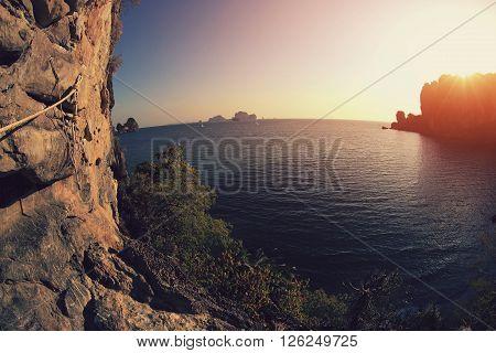 closeup of beautiful sunset  at seaside landscape