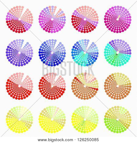 Set circular color different shades of red. vector illustration