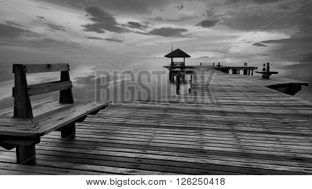 Landscape of Wooded bridge pier between sunset. Summer travel in Pattaya ,Thailand.