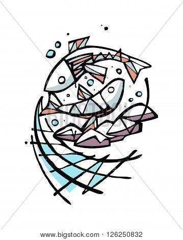 Hand drawn vector illustration or drawing of five breads and two fishes representing the biblical miracle of Jesus Christ