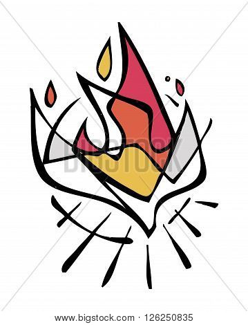 Hand drawn vector illustration or drawing of the Holy Spirit