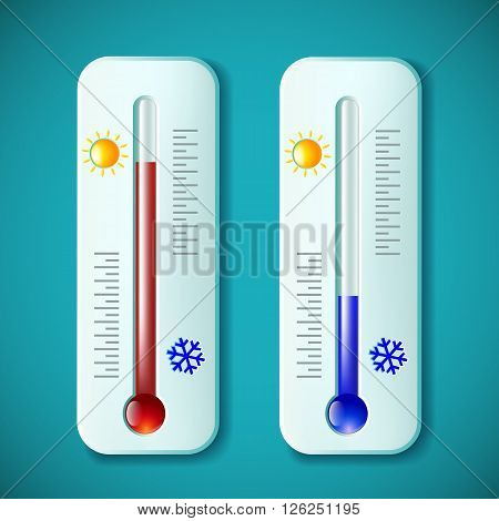Set mercury thermometers. Heat and cold. Stock vector illustration.