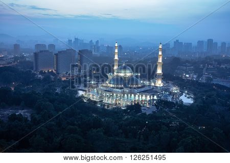 Masjid Wilayah Persekutuan with amazing sunrise sky background ** Note: Visible grain at 100%, best at smaller sizes