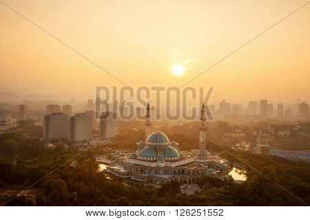 Masjid Wilayah Persekutuan with amazing sunrise sky background