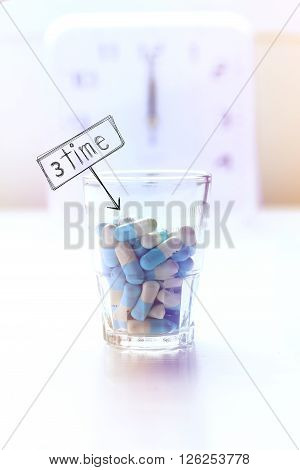 Medicine and clock background 3 time per day to take pills.