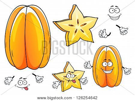 Bright yellow ribbed fruit and juicy star shaped slice of exotic carambola fruit cartoon characters with funny smiling faces. May be used as tropical cocktail recipe and vegetarian dessert design