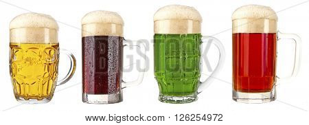 Different types of beer in mugs, isolated on white