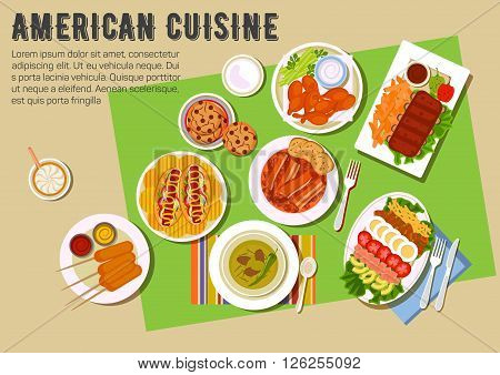 Bbq party with american cuisine menu flat icon with grilled ribs, chicken legs, bell peppers, served with french fries, tomato and garlic sauces, hot dogs and kebabs with mustard and ketchup, cobb salad with avocado, cheese, meat and eggs, baked beans wit