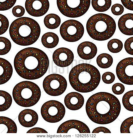 Seamless extremely dark chocolate doughnuts pattern with fast food deep fried donuts, topped with rainbow sprinkles and sugar powder over white background. Takeaway dessert menu, cafe interior design usage