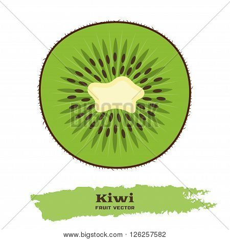Fresh green kiwi fruit in flat style. Great for design of healthy lifestyle or diet. Slice of kiwi on white background. Kiwi fruit slice icon. Fruit vector illustration. Kiwi fruit logo design.