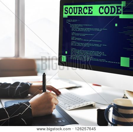 Source Code Analysis Binary Computer Internet Concept