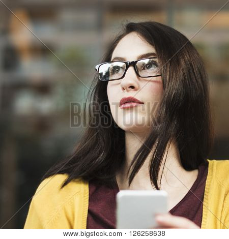 Woman Using Mobile Phone Communication Concept