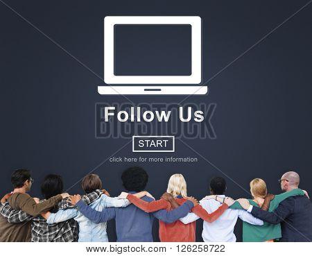 Follow Us Social Media Technology Online Website Concept