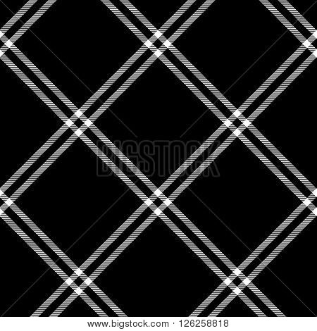 Black and white tartan traditional fabric seamless pattern, vector background