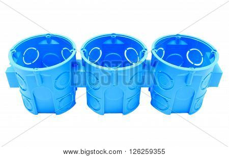 Blue plastic electrical boxes on white background junction boxes accessories for engineering jobs