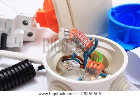 Components for use in installations copper wire connections in electrical box accessories for engineering work energy concept