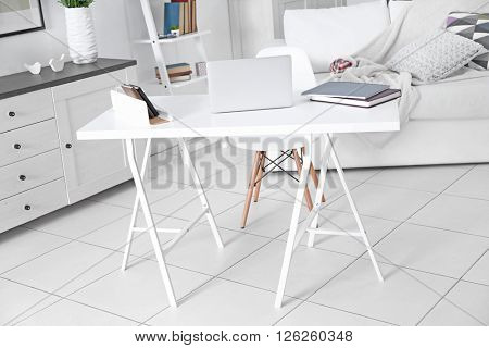 Modern interior of working place at home