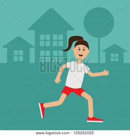 Funny cartoon running girl Cute run woman Night summer time. House tree silhouette Stars shining. Jogging lady Runner Fitness outside workout running female character Flat design Vector illustration