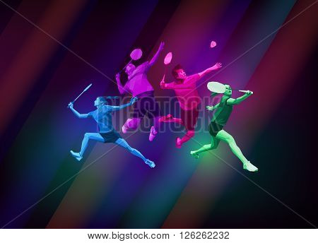 Sports poster with badminton players colorful on dark background. Trendy polygons, vector illustration