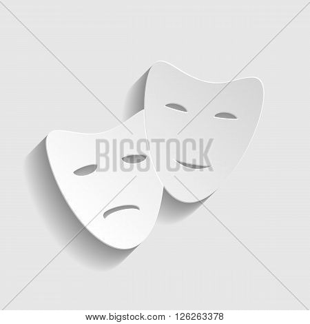 Theater icon with happy and sad masks. Paper style icon with shadow on gray